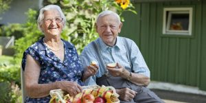 happy senior couple in their garden